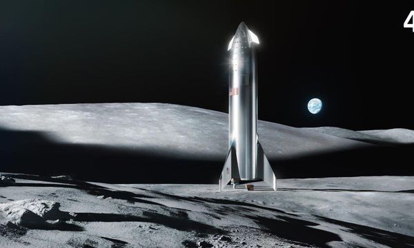 SpaceX's Elon Musk shows off a shiny Starship in landscapes of moon and Mars
